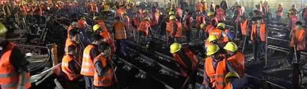 Pogledajte kako je 1500 kineskih radnika za samo 9 sati napravilo novu željezničku prugu! (VIDEO)